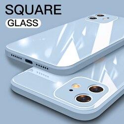 Para o iphone 11 12 pro max mini xr xs x 8 7 6 6s mais se 2 2020 caso quadrado líquido vidro temperado à prova de choque macio quadro volta capa