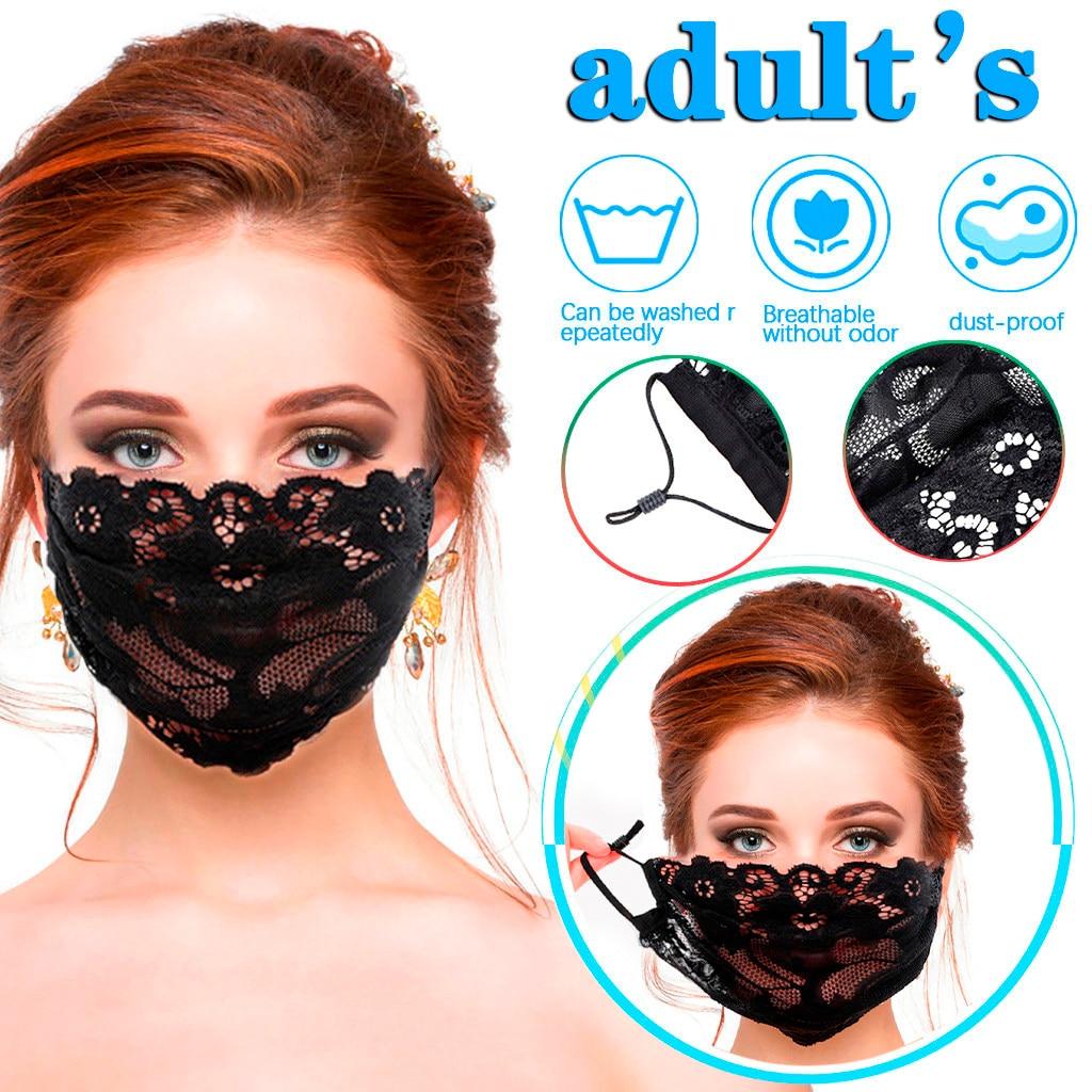 Женская Однослойная черная вышитая кружевная маска для лица Maszk Регулируемая сетчатая тонкая дышащая маска моющаяся многоразовая маска|Маска для велоспорта|   | АлиЭкспресс