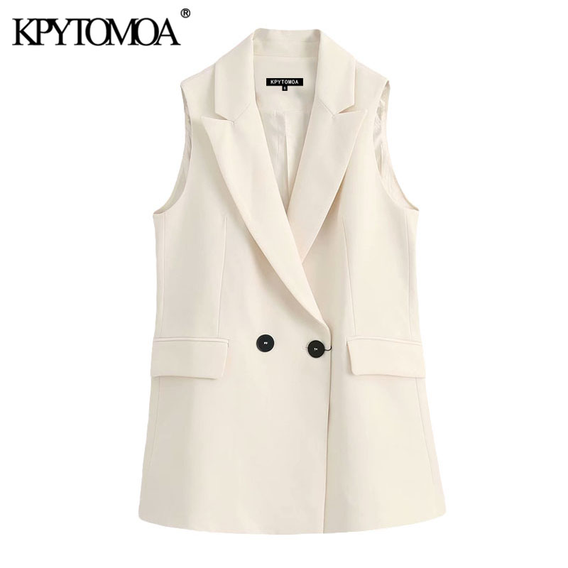 KPYTOMOA Women 2020 Fashion Office Wear Double Breasted Waistcoat Vintage Sleeveless Pockets Female Vest Outerwear Chic Tops