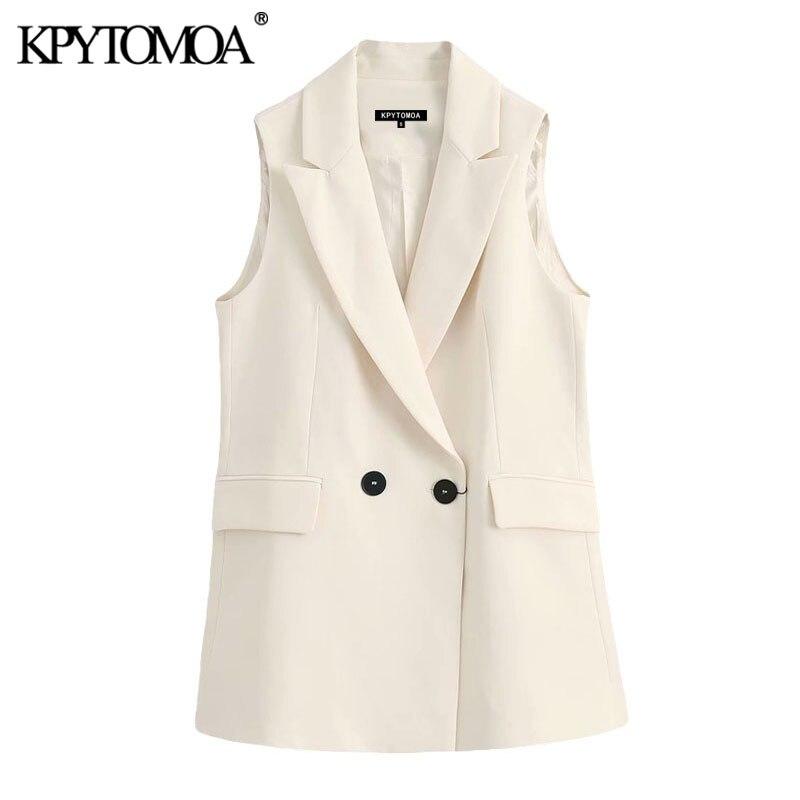 KPYTOMOA Women 2020 Fashion Office Wear Double Breasted Waistcoat Vintage Sleeveless Pockets Female Vest Outerwear Chic Tops