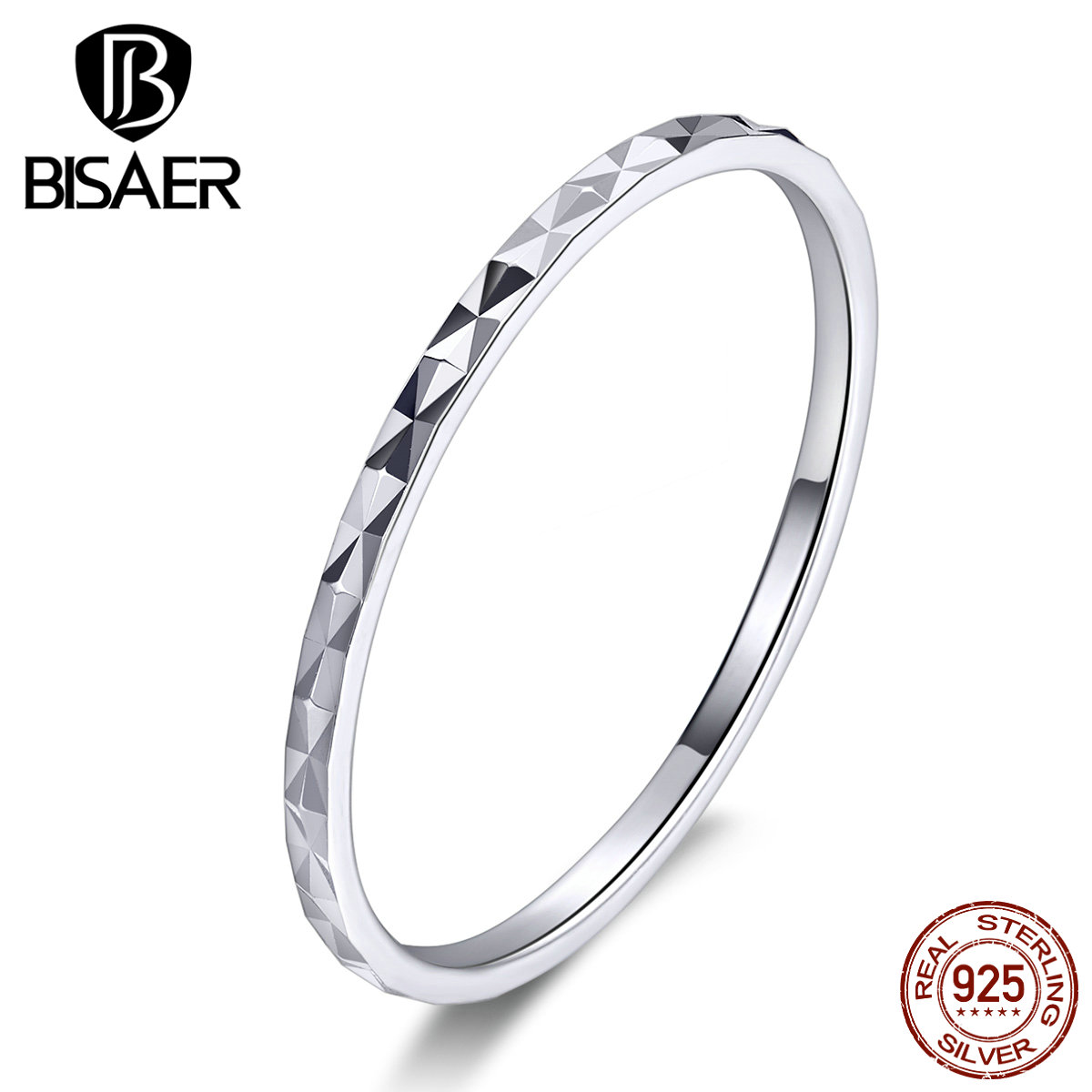 Stack Rings BISAER 925 Sterling Silver Simple Silm Line Micro Pave Stack-Rings For Women Knuckle Ring Wedding Jewelry ECR586