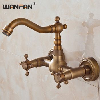Kitchen Faucets Wall Mounted Antique Taps Bathroom Basin Water Crane 360 Degree Swivel Dual Handle Hot and Cold Faucet HJ-6708F