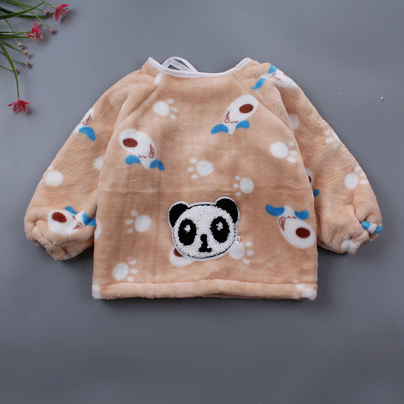 Girls Flannel Infants Men's Children Outside Dress Bib Overclothes Thick Antifouling Protective Clothing Baby Smock