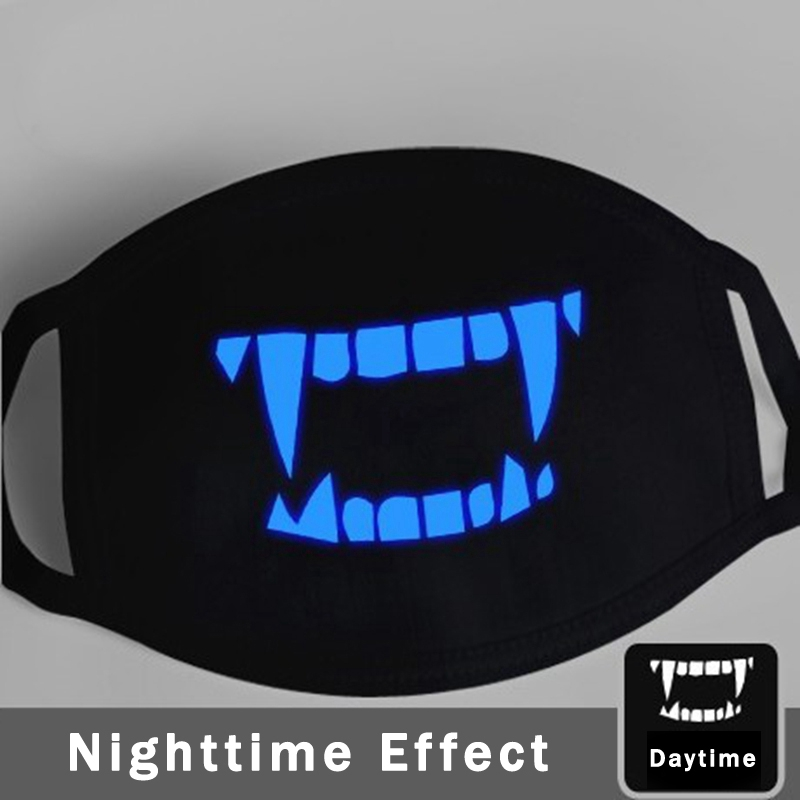 Luminous Vampire Teeth Mouth Masks Fashion Black Mask Mouth Vampire Cosplay Costume Mask Night Glow Teeth Mask