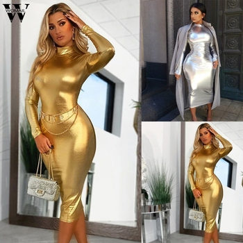 Womail Dress Women elegant long sleeve Hight Collar Bodycon Slim Fit Party sexy 2020 Gold Silver dress autumn party club outfits 1