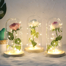 Rose In Flask Night Light Artificial flowers and LED Glass Dome Gifts For Wedding Party Valentines Day Romantic Lamp D30