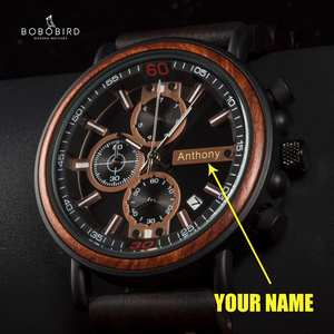 Wood Watch Men Chronograph Bobo Bird Personalized Reloj Hombre Luxury   Stylish