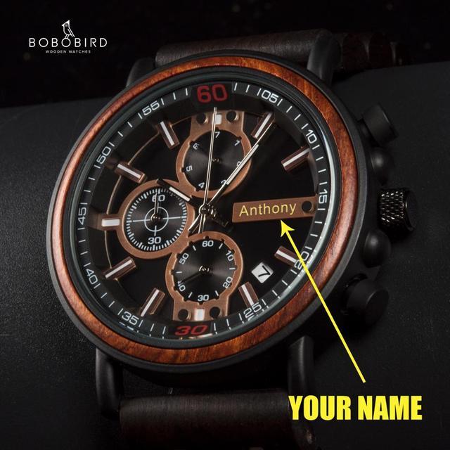 Часы Мужские Gepersonaliseerde Bobo Vogel Hout Horloge Mannen Chronograph Militaire Horloges Luxe Stijlvolle Met Houten Doos Reloj Hombre