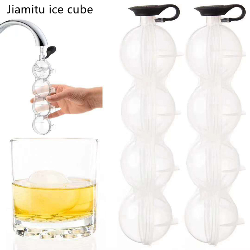 4 hohlraum Ice Cube Maker Form Für Eis Flexible Silikon Whisky Cocktail DIY Runde Ball Eis Grid Party Für bar Küche Werkzeug