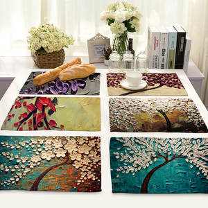 Oil Painting flower table mats for dining table cotton linen Western-style food placemats kitchen decoration accessories