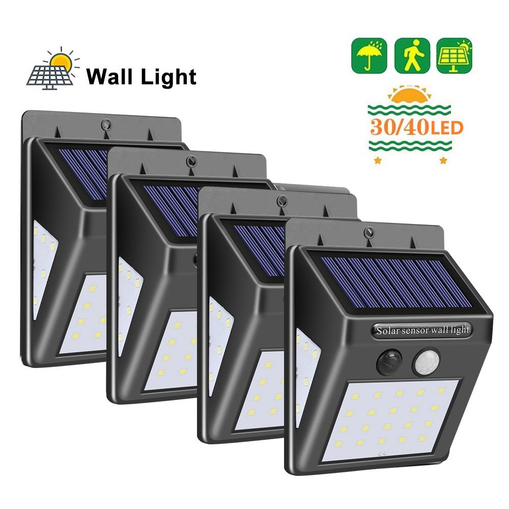 1-4pcs 40 LED Solar Lamp PIR Motion Sensor Waterproof Garden Solar Light Path Emergency Security Light 3 Sided Luminous Lighting