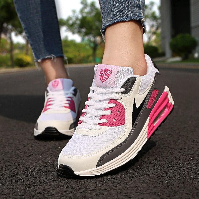 Chaussures de course respirantes à coussin pour femmes, baskets de sport unisexes à la mode pour dames