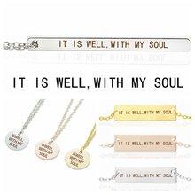 Женское прямоугольное ожерелье с надписью «it is well with my