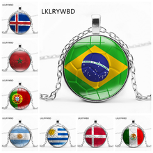LKLRYWBD / 32 Strong Flag Football Glass Gem World Cup Football Necklace Custom Jewelry flag football world cup body tattoo stickers