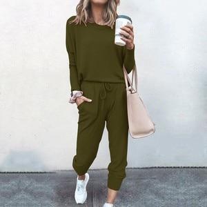 2pc Women Pure Color Suit Long Sleeve Leisure Pocket Home Sweatpants Sets Outdoor Sports Solid Long Pants Casual Tracksuit