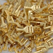 100 pçs/lote ouro latão carro alto-falante conectores de fio elétrico conjunto fêmea crimp terminal conector 4.8mm/6.3mm