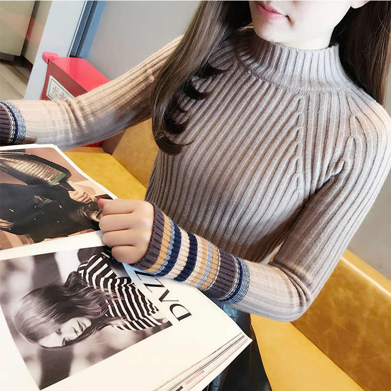 Outono roupas de inverno roupas femininas 2020 coreano gola alta pulôver vintage camisola feminina quente tops puxar femme suéteres zt4660