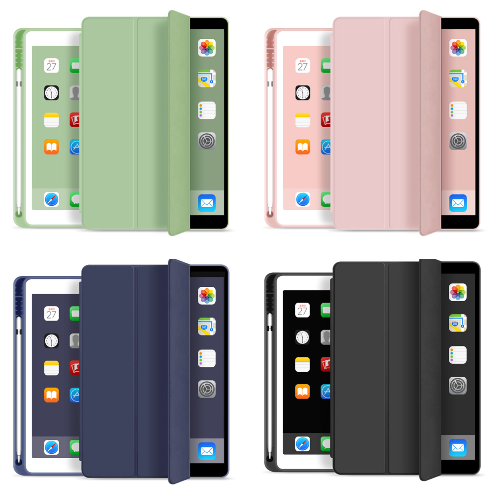Cover For New <font><b>iPad</b></font> <font><b>9.7</b></font> inch 2018 <font><b>2017</b></font> Case With Pencil Holder , ZVRUA Slim Tri-fold PU Leather Smart Cover have wake up sleep image