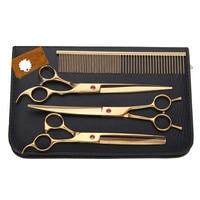 Pet Grooming Scissors Kit Golden 8 inch Professional Dog Hair Cutting Thinning Shears Set Puppy Cat Rabbit Hair Beauty Supplies