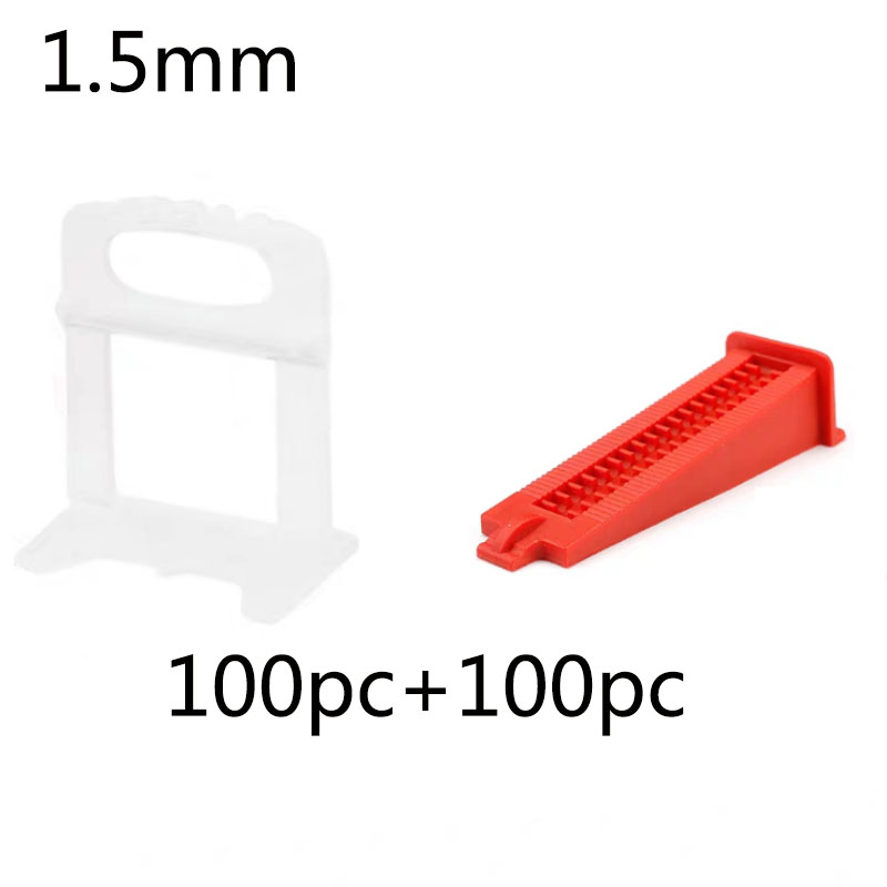 1.5 Mm Tile Leveling System Tools Floor Wall Flat Leveler Plastic Spacers 100pcs+100pcs  Wedges Building Installation Tools Kit
