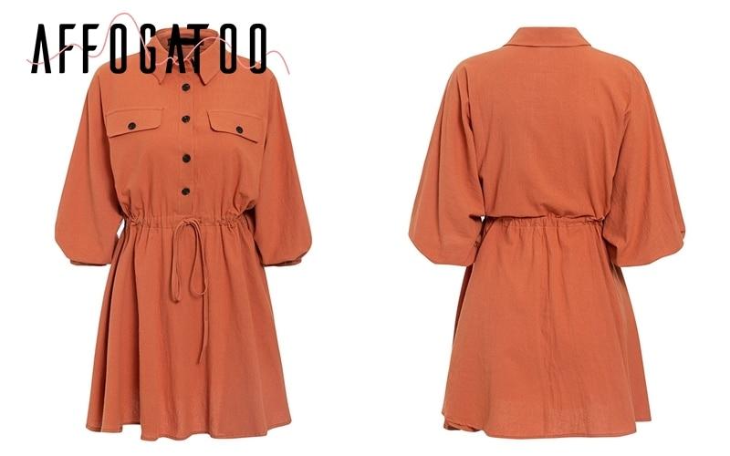 Affogatoo Vintage elagant women mini shirt dress Casual lantern sleeve short dress Turndown collar lace up linen female dresses 16