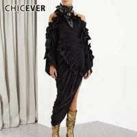 CHICEVER Patchwork Bowknot Side Split Women's Dresses Halter Collar Long Sleeve Elegant Autumn Dress Female Fashion New Clothes