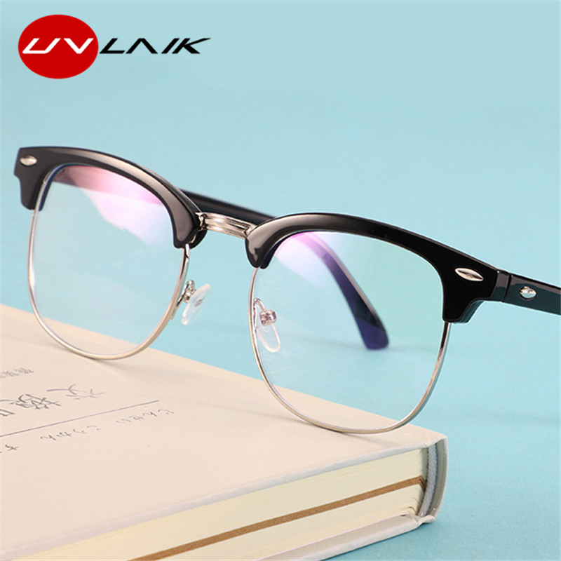 UVLAIK Computer Eyeglasses Frames Men Women Blue Light Blocking Glasses Classic Clear Optical Spectacles Myopia Frame Eyewear