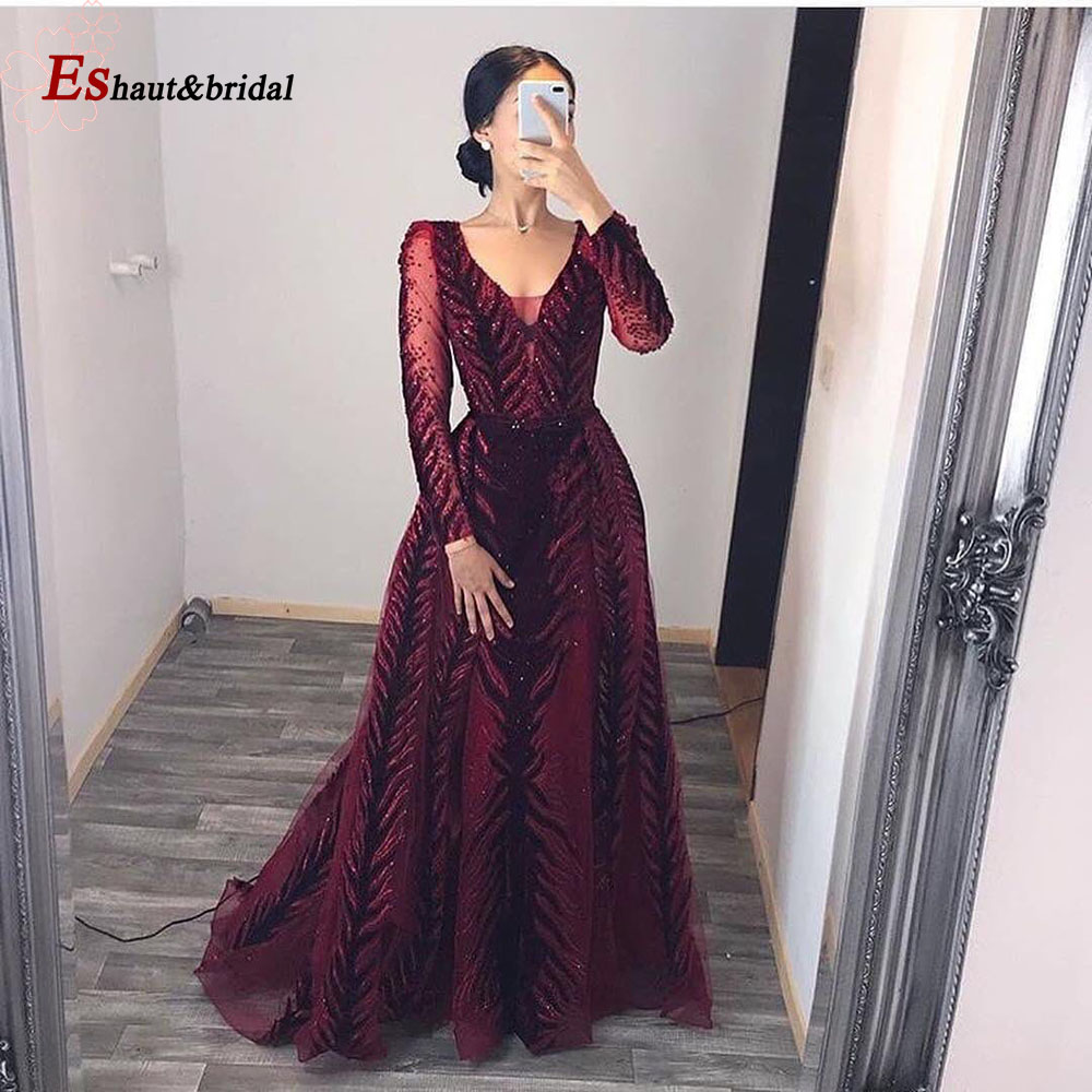Luxury Dubai Evening Dress Mermaid 2020 V-Neck Long Sleeves Velvet Crystal Handmade Arabic Plus Size Formal Prom Party Gowns