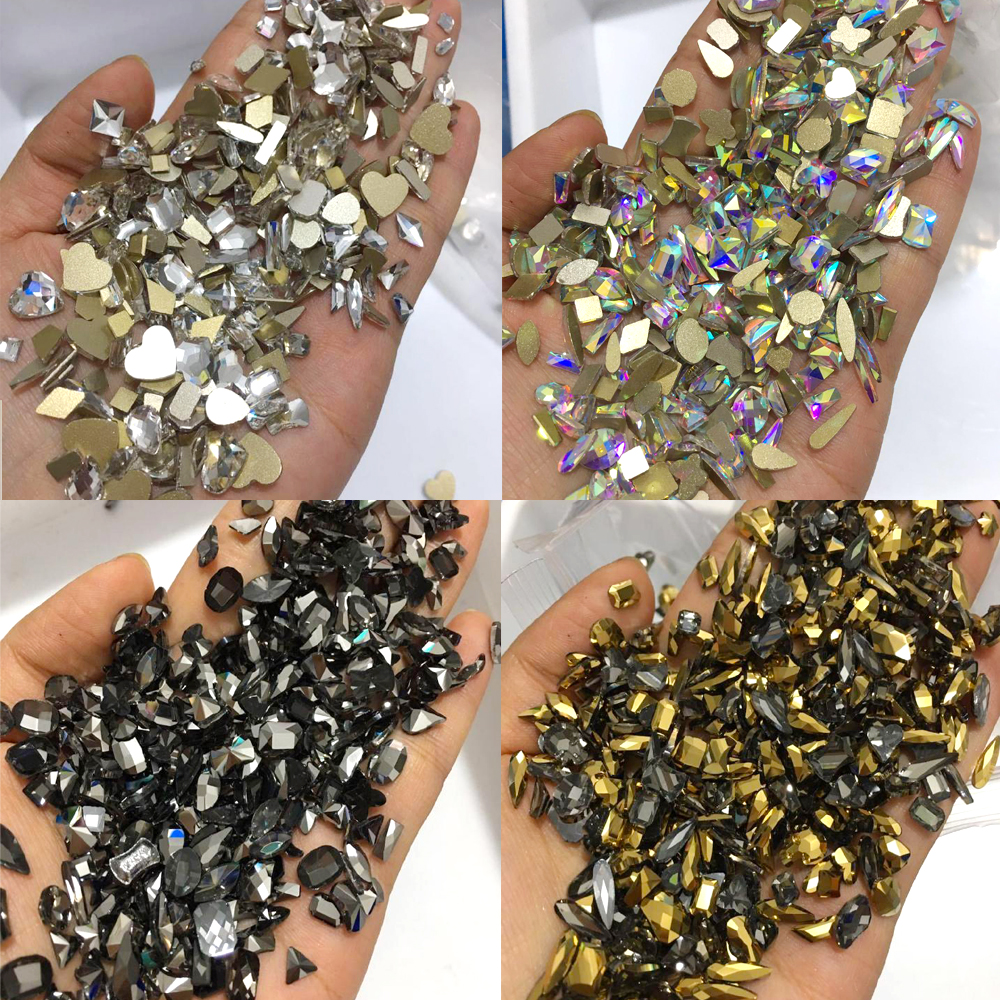 100PCS Random Mix Shape Nail Rhinestones Flatback Crystal Irregular Diamond 3D Manicure Nail Art Decoration Charms Jewelry