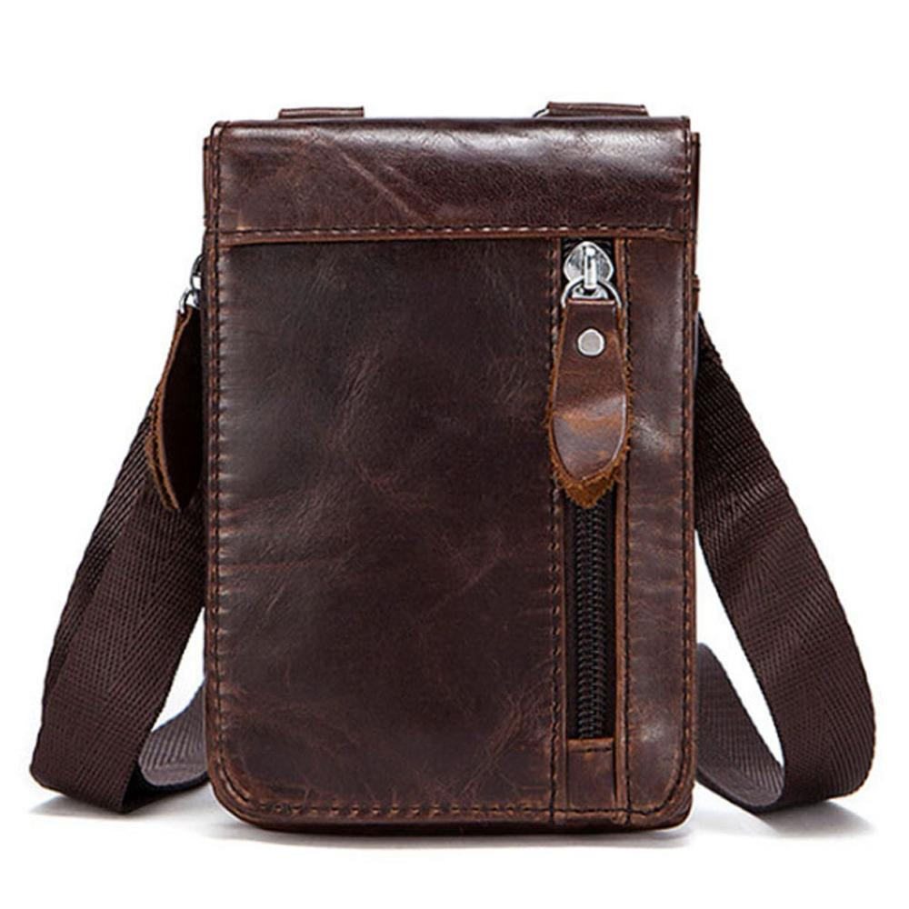 Men First Layer Cowhide Genuine Leather Fashion Crossbody Shoulder Bag Belt Waist Fanny Pack Purse Pouch Cell Phone Case New