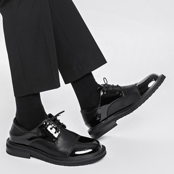 Men Streetwear Vintage Fashion Business Casual Genuine Leather Wedding Loafers Shoes Harajuku Korean Style Male Leather Shoe Man