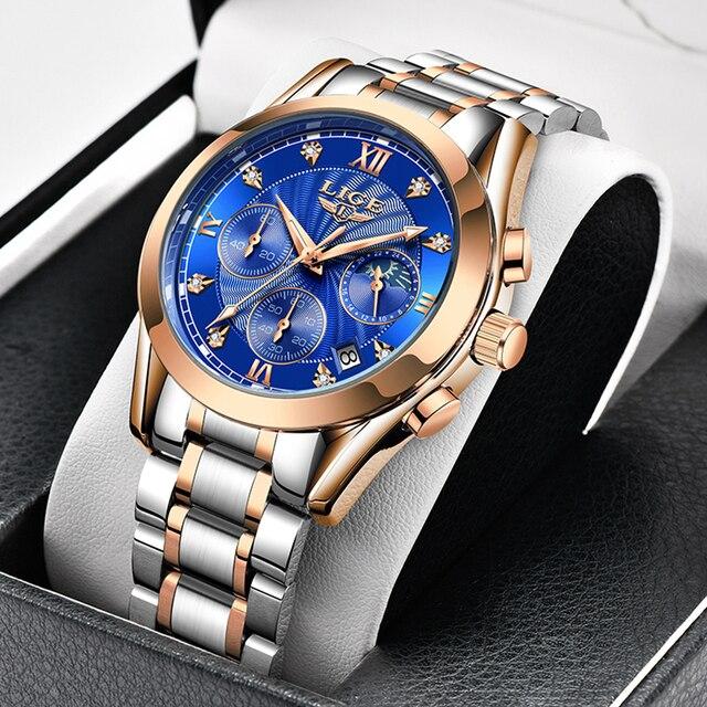 2021 New LIGE Classic Women Quartz Watch Waterproof Stainless Steel Watchstrap Fashion Women Watch Gift Date Clock Dropshipping 1