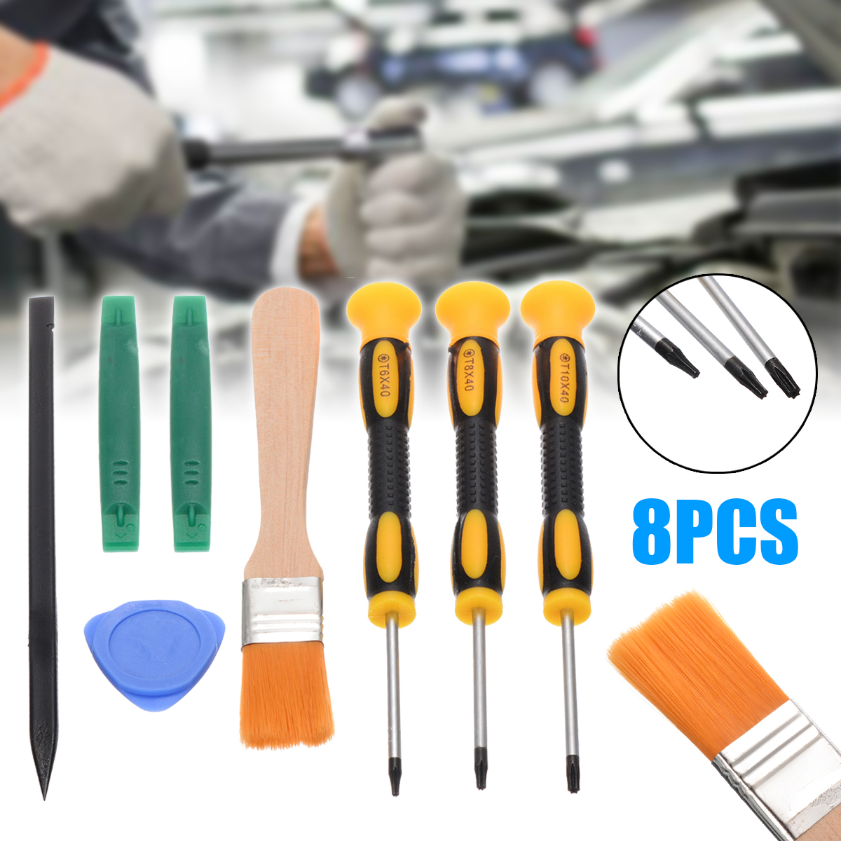 8pcs 3 Types Prying Tool Kit With T8 T6 T10 Screwdriver And Cleaning Brush Set For Xbox One 360 PS3 PS4