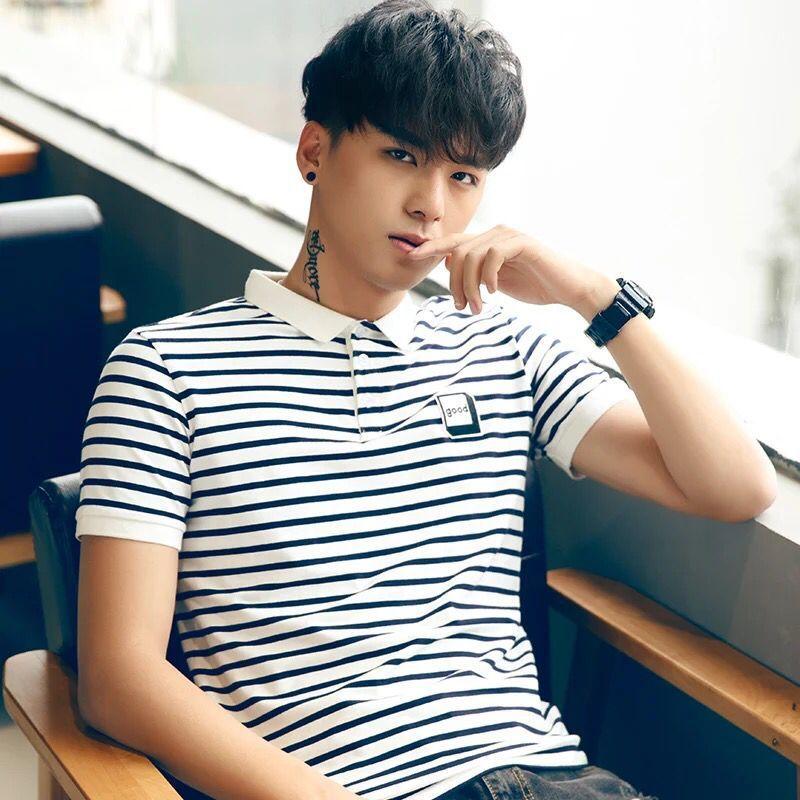 Hot 2020 Men's Short-sleeved Polo Striped Summer Trendy Hong Kong Style Lapel Polo Shirt Male Korean Slim Half-sleeve Clothes