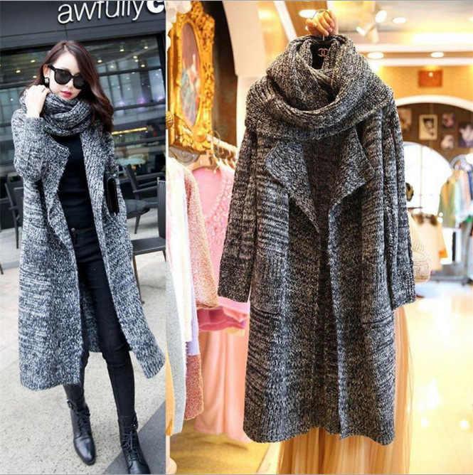 سترة طويلة 2019 جديد الخريف والشتاء جديد كوريا البلوزات فضفاضة وشاح طوق Hot البيع ملابس الشتاء النساء Vestidos MMY76126