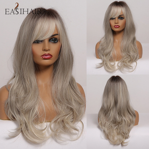 EASIHAIR Grey Ombre Wavy Wigs Long Synthetic Wigs for Women Wigs with Bangs Natural Hair Wigs Heat Resistant Cosplay Wigs