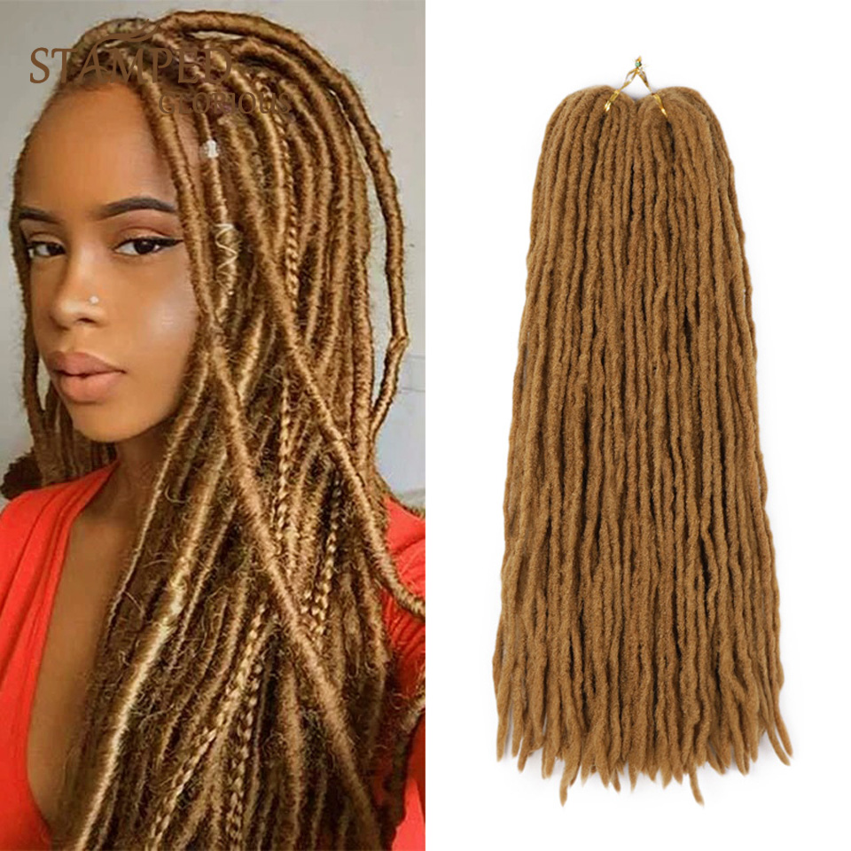 Stamped Glorious Synthetic Crochet Braids Handmade Fiber Dreadlocks Hair Extensions Black Brown Twist Braiding For Women