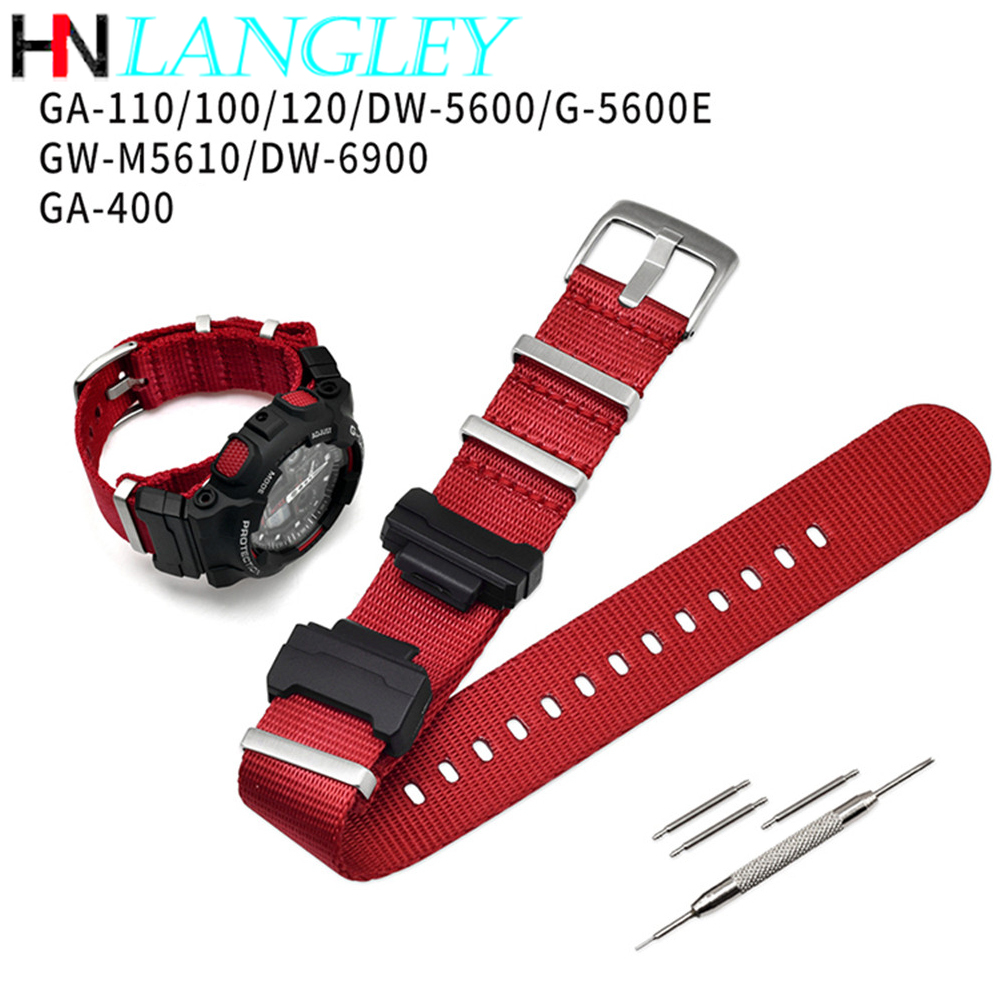 Nylon NATO Replacement Watchband for Casio <font><b>G</b></font>-<font><b>Shock</b></font> GA-110/100/120/150/200/400 GD-100/110/120 <font><b>DW</b></font>-<font><b>5600</b></font> GW-6900 Bracelet Strap Band image