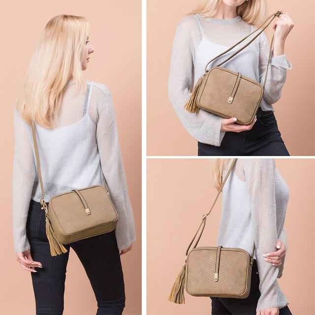 REALER small shoulder bag for women messenger bags ladies retro PU leather handbag purse with tassels female crossbody bag 2