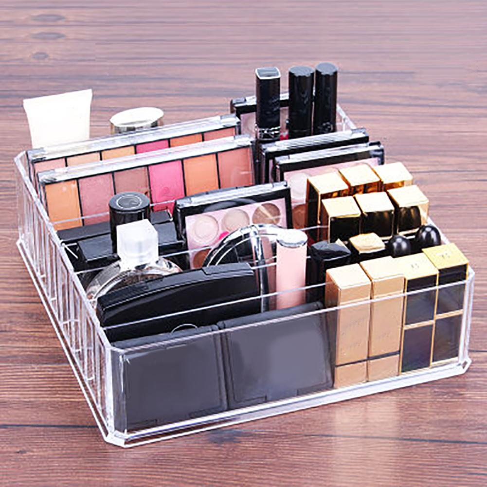 Clear Acrylic Makeup Organizer Cosmetic Storage Box Powder Lipstick Holder