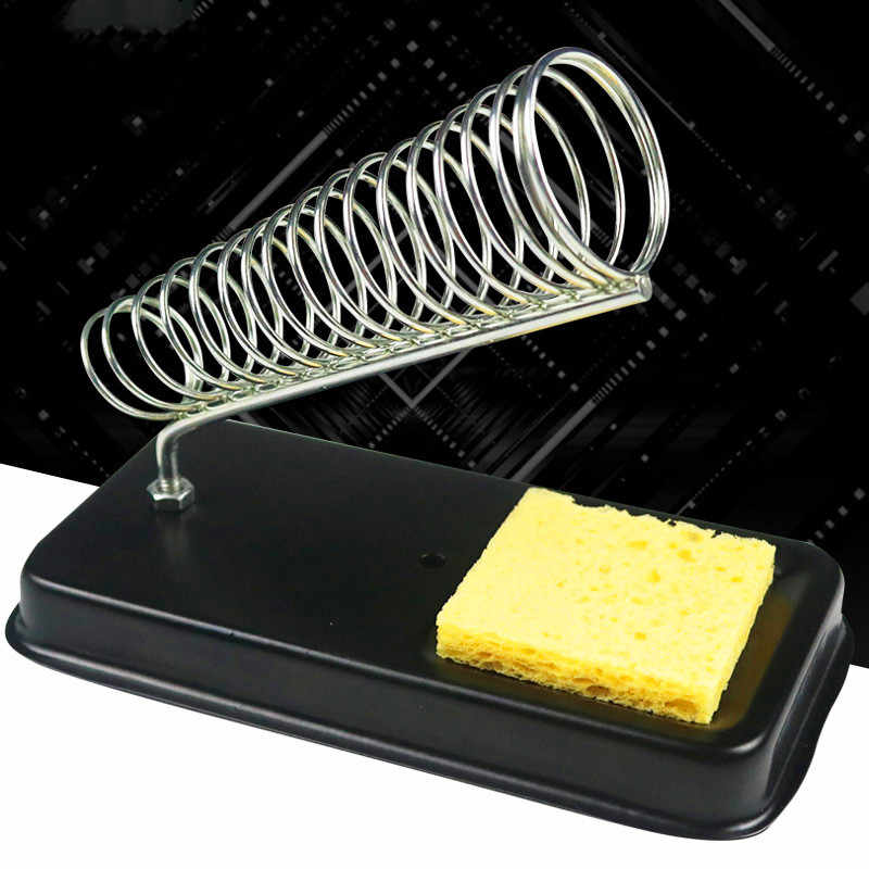 Suporte elétrico de ferro de solda, suporte pequeno com esponja de solda, estação de suporte de metal, resistência a alta temperatura genérica, venda imperdível