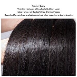 """Image 5 - شعر موكا 100% غير معالج 10A شعر عذراء برازيلي شعر طبيعي مفرود 8 """" 26"""" 4 حزمة تمديد الشعر اللون الطبيعي"""