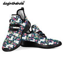 Doginthehole West Highland Terrier motyw psa buty damskie płaskie buty damskie lekkie buty z siatką nastolatki tenisówki robione na drutach tanie tanio Podstawowe Mesh (air mesh) Cotton Fabric Płytkie RUBBER Dla dorosłych Wiosna jesień Okrągły nosek Lace-up Pasuje prawda na wymiar weź swój normalny rozmiar