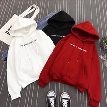 Women's Hoodie Sweatshirt New Letter Print Long Sleeve Pocket Loose Jumper Pullover Autumn Winter Fashion Casual Warm Tops #A(China)