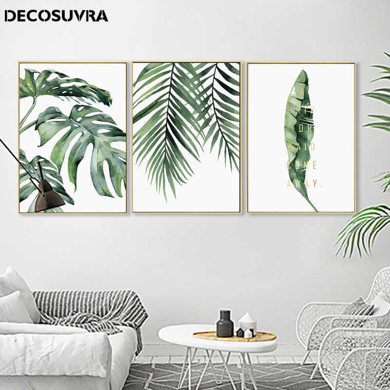 Modern bitki yaprak posterler ve baskılar resimleri İskandinav tarzı yeşil yapraklar resimleri için oturma odası duvar ev dekor