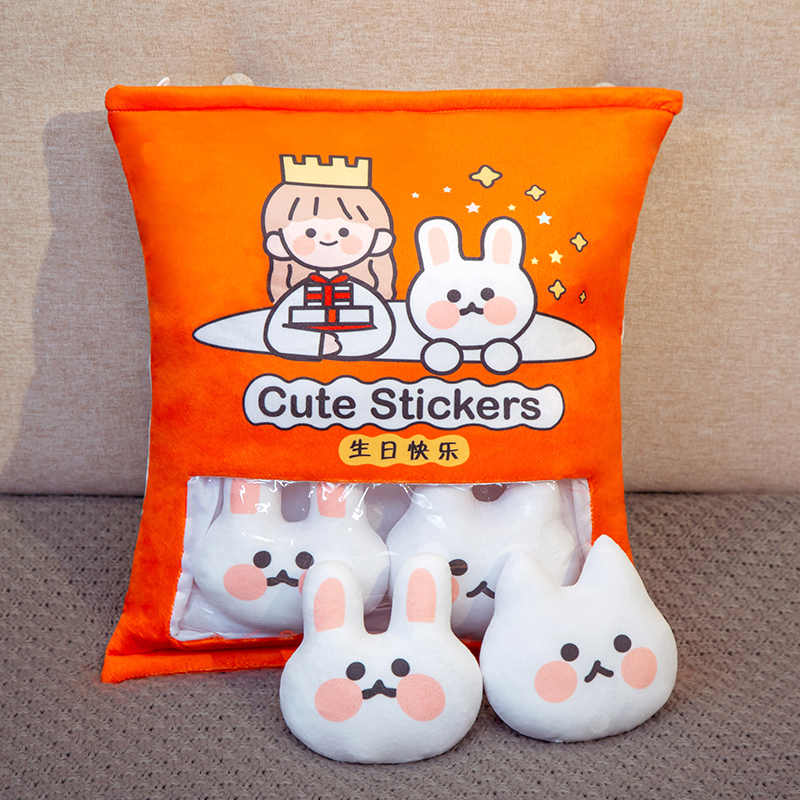Baru Lucu Hewan Puding Mainan Mewah Mini Bulat Bola Kelinci Kelinci Tas Plushie 8 Pcs Makanan Ringan Mainan plush Bantal Anak-anak Hadiah