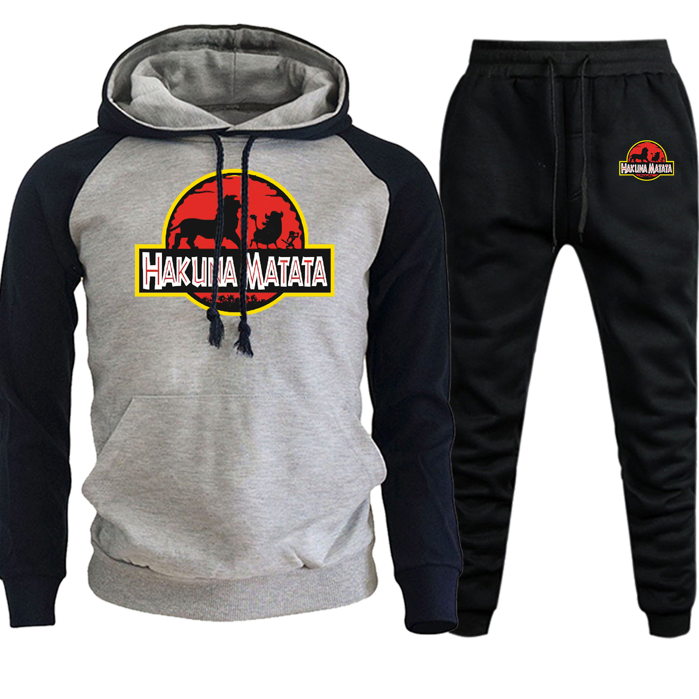 HAKUNA MATATA Cartoon Hoodied Mens Raglan Autumn Hot Sale The Lion King Suit Casual Pullover Fleece Streetwear+Pants 2 Piece Set