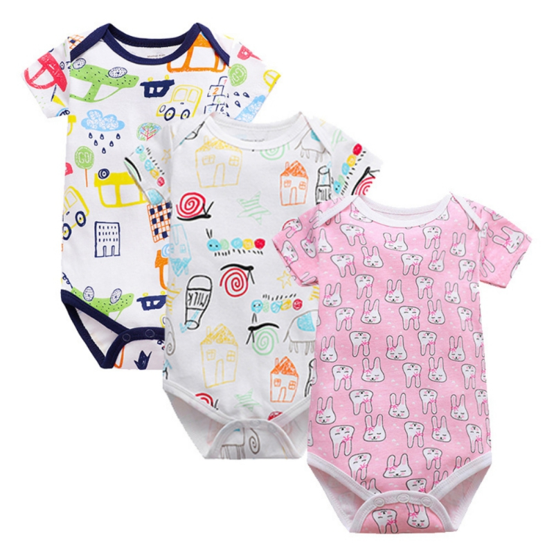 Baby Boys Girls Bodysuits Cartoon Printing Clothes Infant Clothing Newborn Baby Toddler Summer Jumpsuit