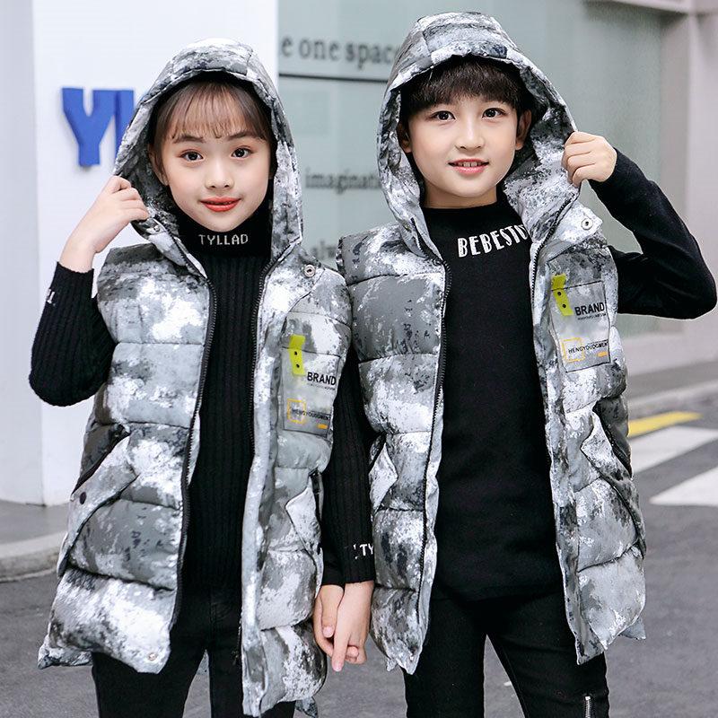 Children Winter Camo Hoodie Waistcoat Boys Girls Sleeveless Camouflage Winter Jacket Kids Camo Vest Snow Camouflage Clothing
