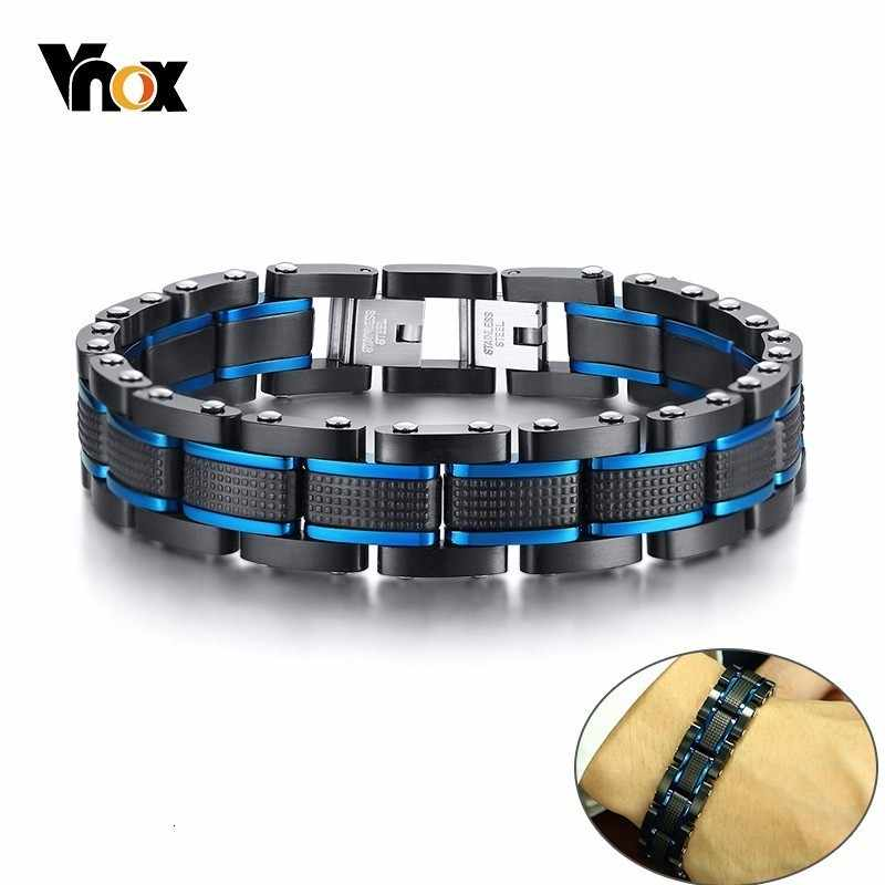 Vnox Stylish Blue and Black Chain Bracelets for Men Stainless Steel Business Gifts pulsera masculina Jewelry